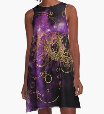 Time Lord Writing (lila) A-Linien Kleid