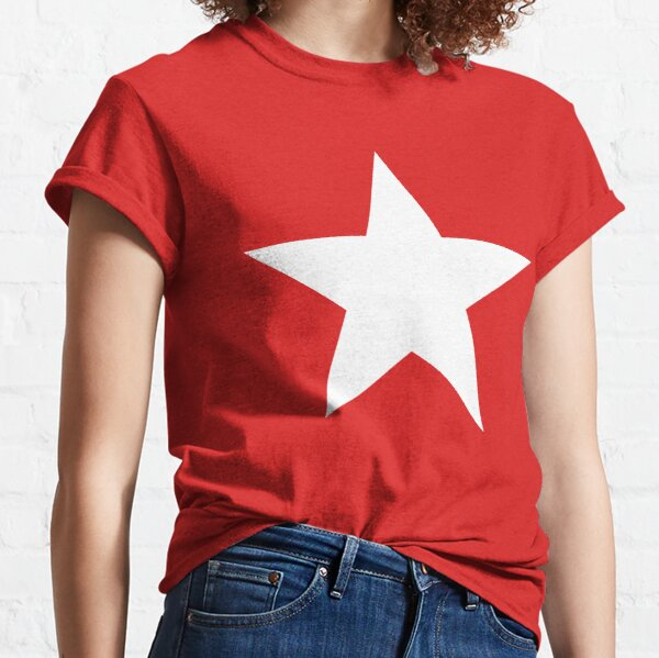 WHITE STAR on RED. Classic T-Shirt