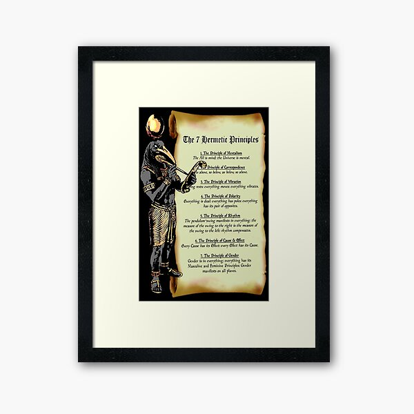 Thoth and The 7 Hermetic Principles Framed Art Print
