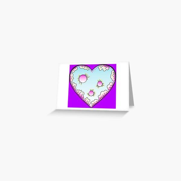 Magisches Herz Pink und Türkis Grußkarte
