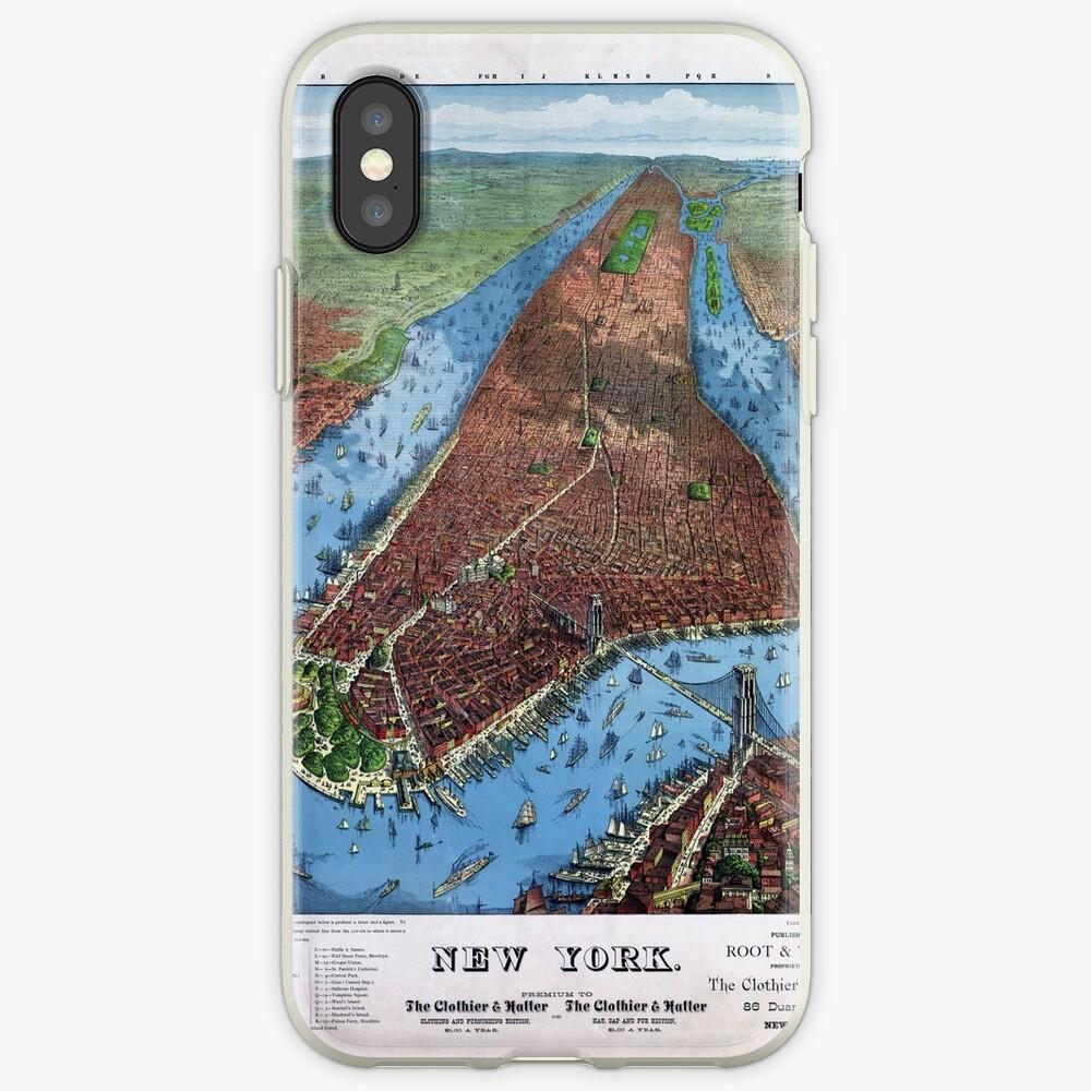 New York Vintage Aerial views Restored 1879 Vinilos y fundas para iPhone