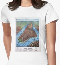Camiseta entallada para mujer New York Vintage Aerial views Restored 1879