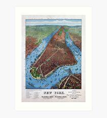 Lámina artística New York Vintage Aerial views Restored 1879