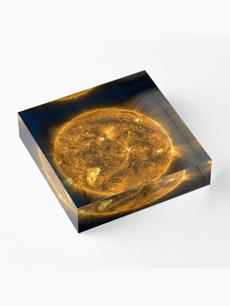 Alternate view of Sun, Circle, 2D shape, abstract, science, sphere, fractal, proportion, energy, design, dark, physics, large, luminosity Acrylic Block