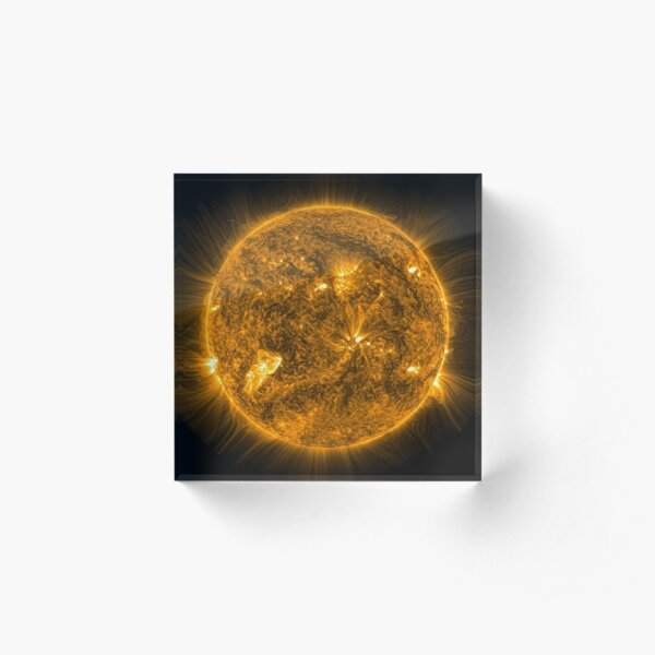 Sun, Circle, 2D shape, abstract, science, sphere, fractal, proportion, energy, design, dark, physics, large, luminosity Acrylic Block