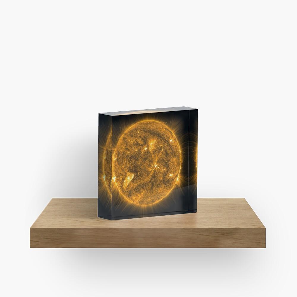 Sun, Circle, 2D shape, abstract, science, sphere, fractal, proportion, energy, design, dark, physics, large, luminosity Acrylic Block