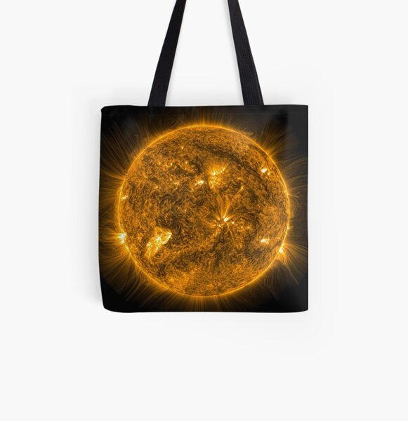 Sun, Circle, 2D shape, abstract, science, sphere, fractal, proportion, energy, design, dark, physics, large, luminosity All Over Print Tote Bag
