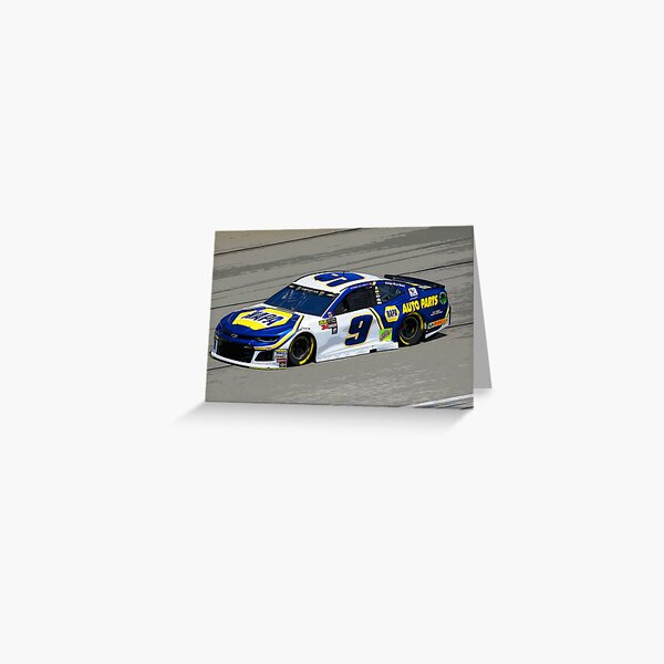Chase Elliot racing in his Chevy Greeting Card