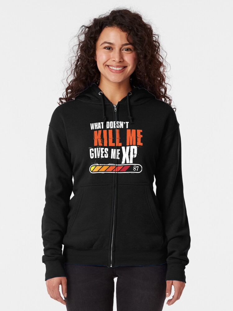 Alternate view of What doesn't kill me gives me XP - white orange design Zipped Hoodie