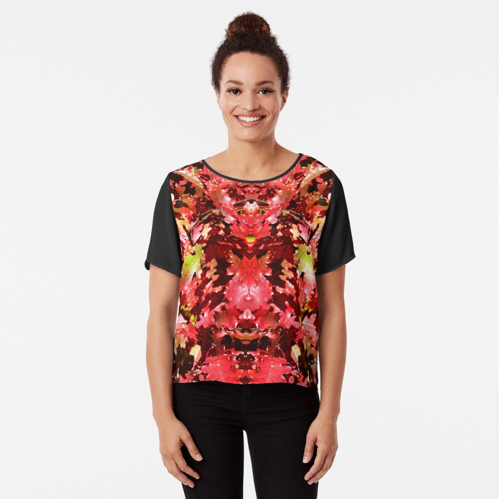 Autumn Oak Leaves Chiffon Top