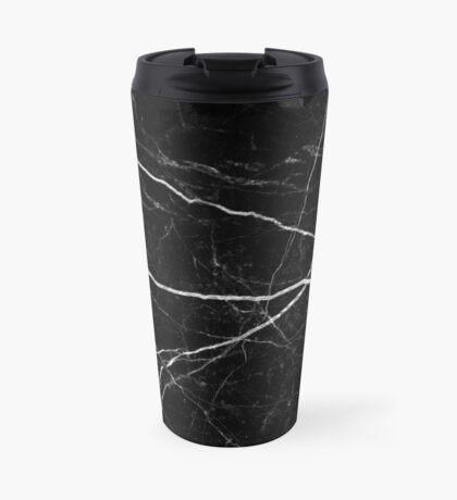 Patrón de textura de piedra de mármol negro Taza de viaje