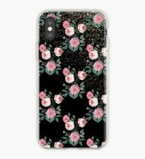 Romantische Pfingstrose mit Blumen und goldenem Konfettientwurf iPhone-Hülle & Cover