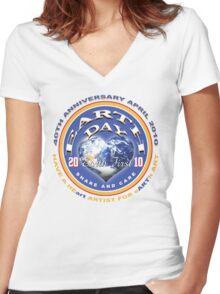 earthday Women's Fitted V-Neck T-Shirt