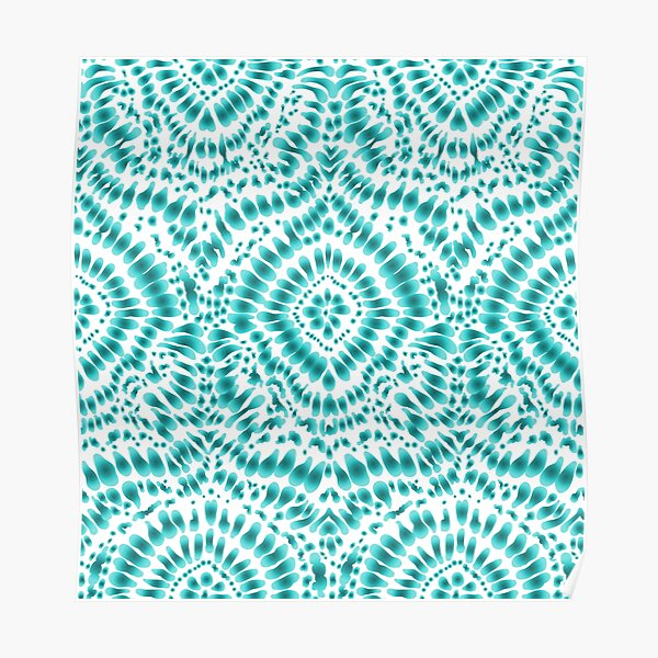 Abstract Blue Tie Dye Pattern Poster