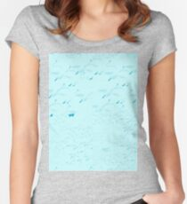 Swans a flying pattern - pale blue  Women's Fitted Scoop T-Shirt