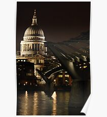 Night shot of St Pauls Cathedral and the Millenium Bridge Poster