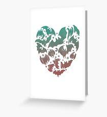 Fledermaus Herz; blau / pink ombre Grußkarte