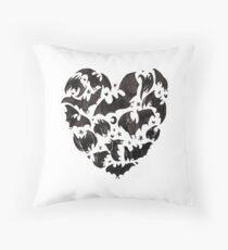 Bat Heart Throw Pillow