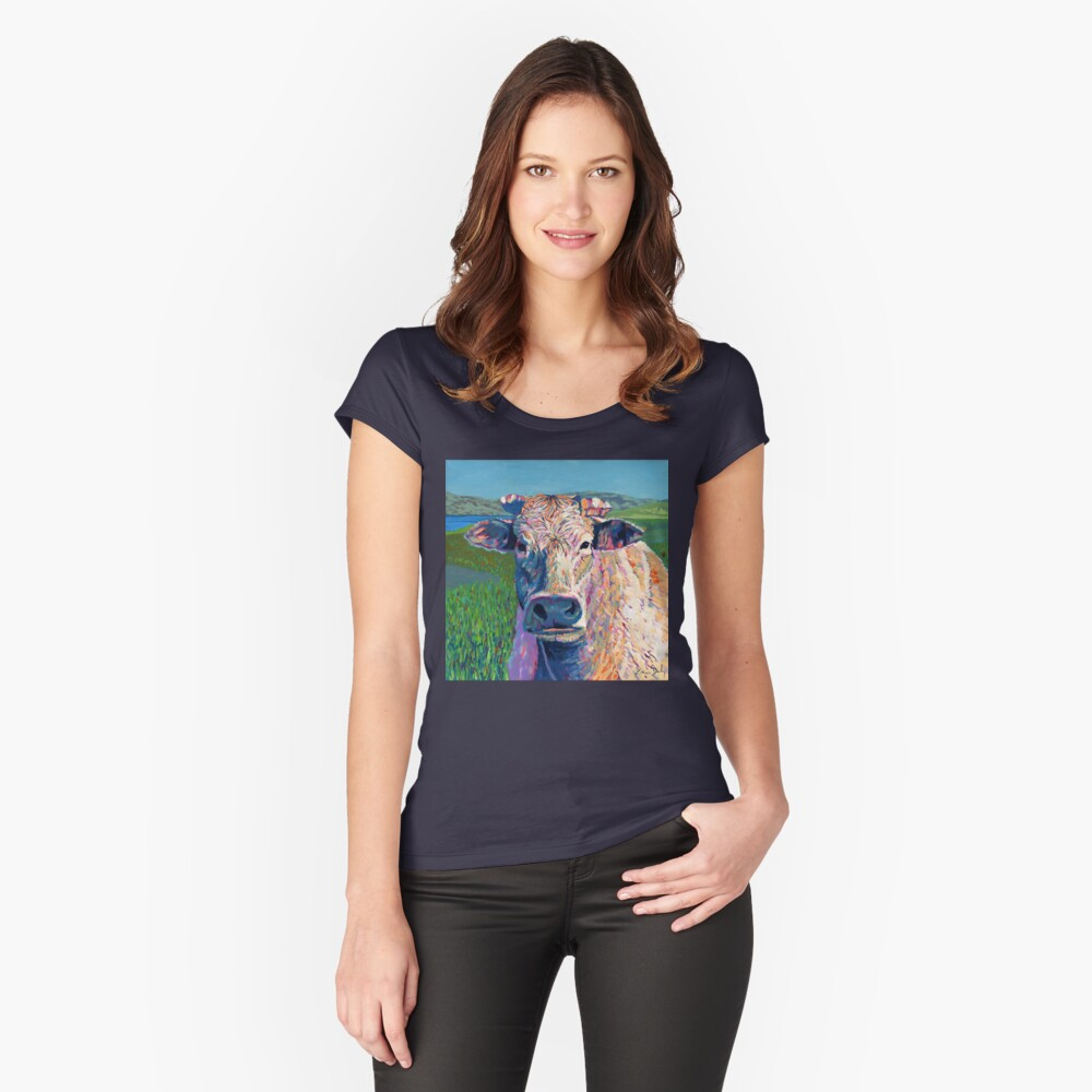 Bovine (Cow. Well, technically a bullock) Fitted Scoop T-Shirt