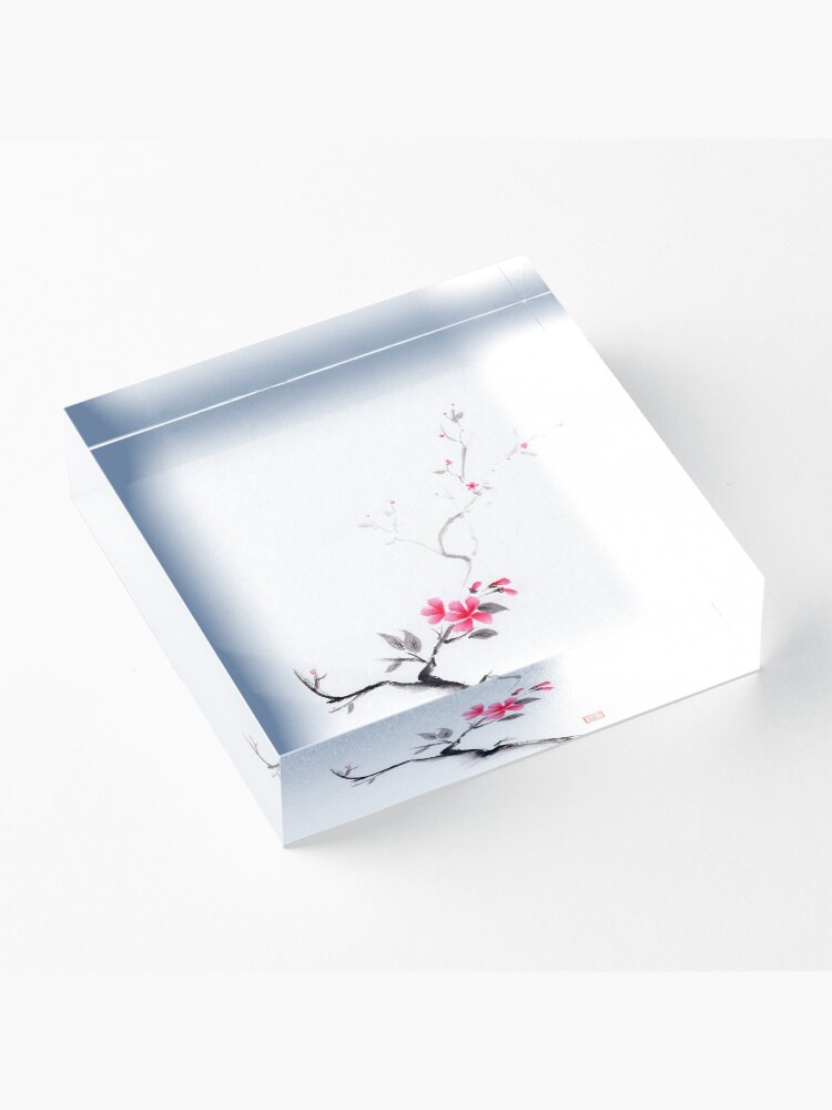 Alternate view of Oriental sumi-e ink painting of a sakura branch with pink flowers on white art print Acrylic Block