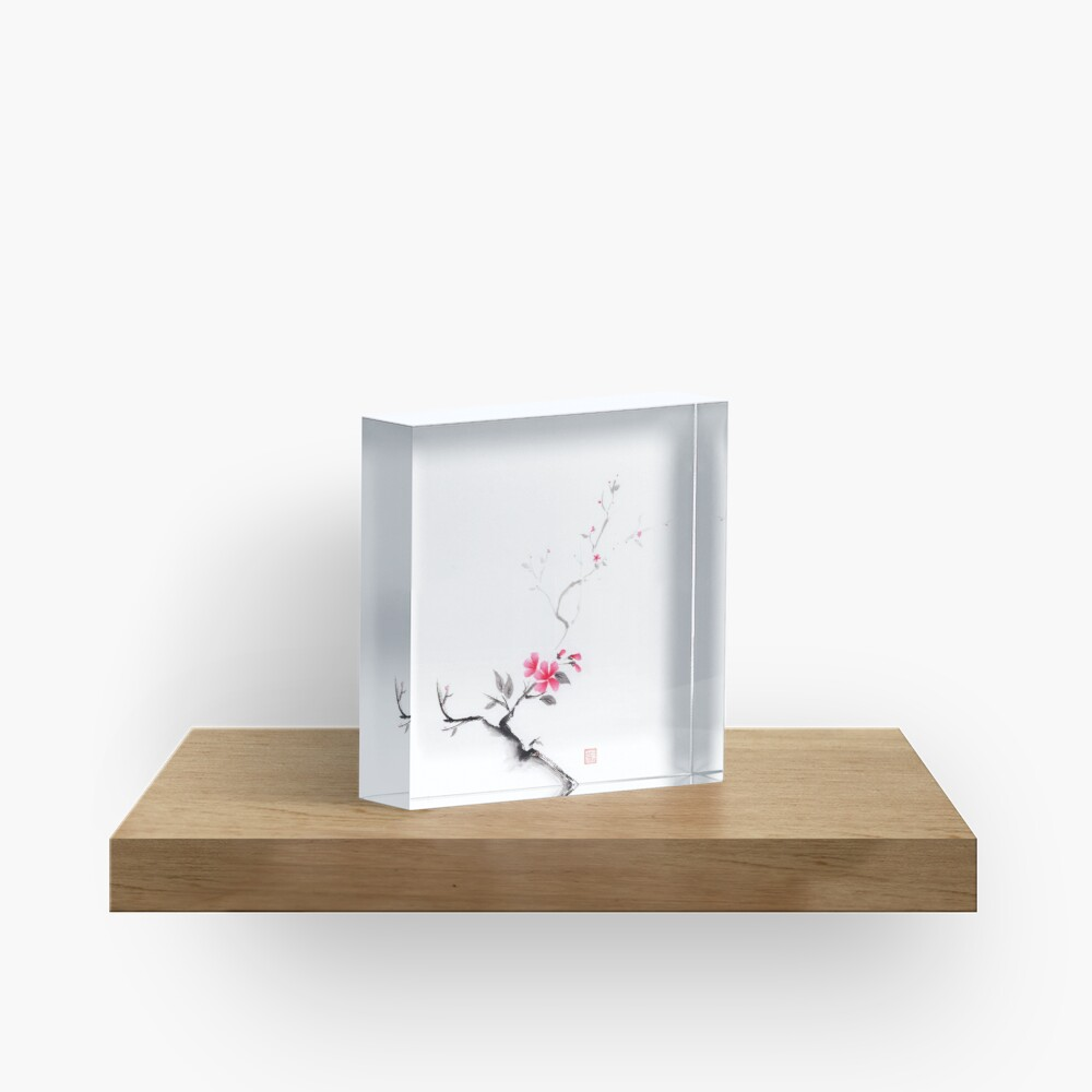 Oriental sumi-e ink painting of a sakura branch with pink flowers on white art print Acrylic Block