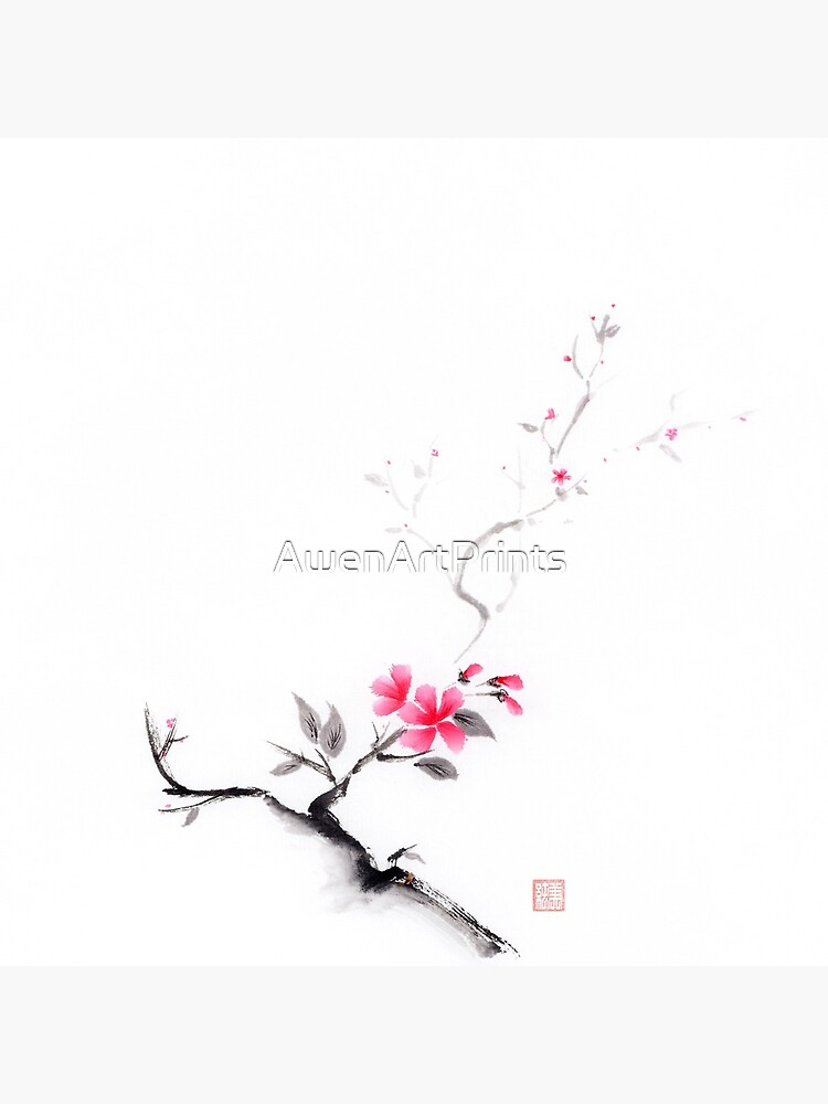 Oriental sumi-e ink painting of a sakura branch with pink flowers on white art print by AwenArtPrints