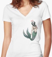 mermaid invader tee (front) Women's Fitted V-Neck T-Shirt