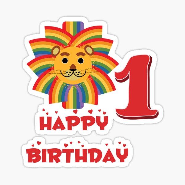 Happy birthday lion age 1 Sticker