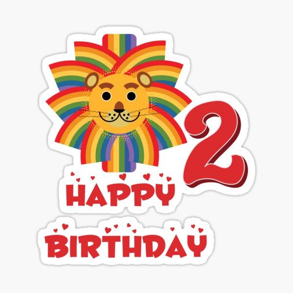 Happy birthday lion age 2 Sticker