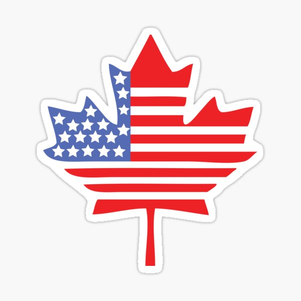Canadian American Leaf Flag - Patriotism / Independence Day / Canada Day Sticker