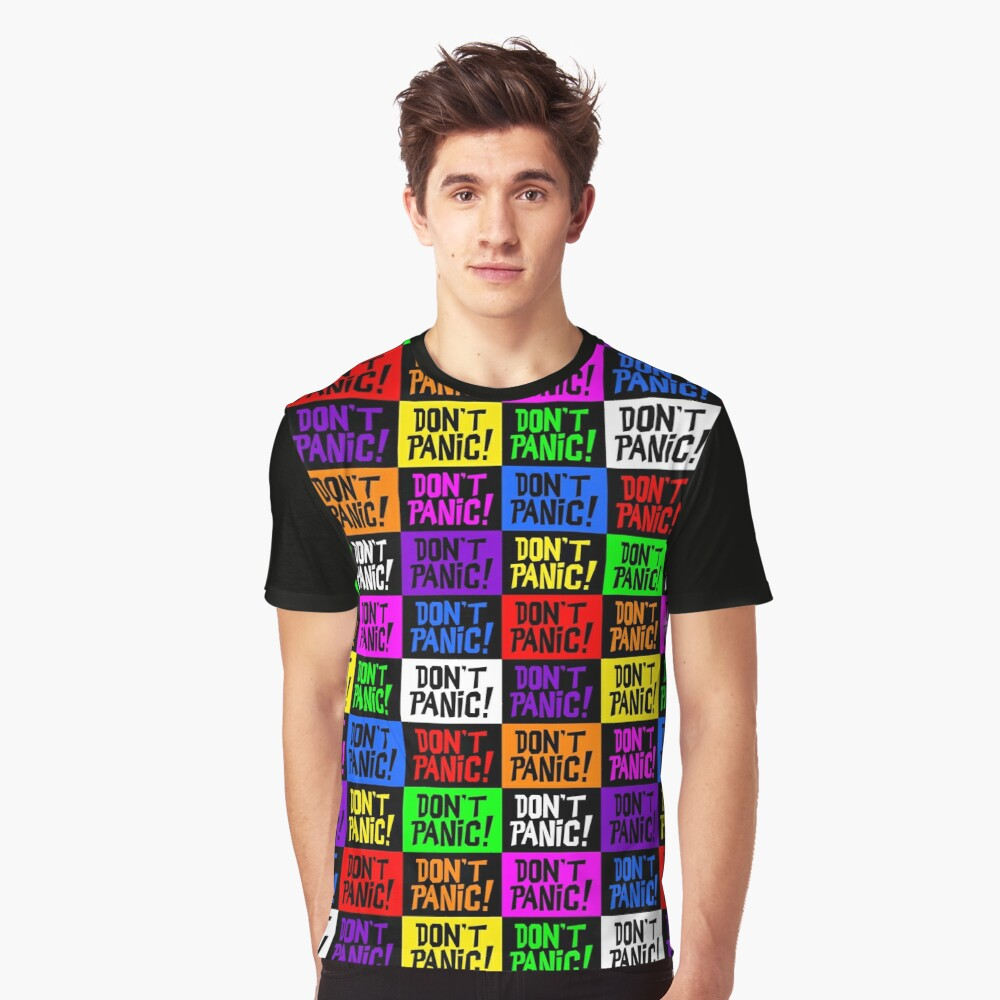 NDVH Don't Panic - Multicoloured H2G2 Graphic T-Shirt Front