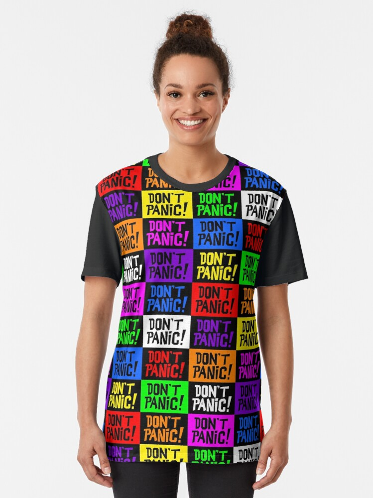 Alternate view of NDVH Don't Panic - Multicoloured H2G2 Graphic T-Shirt