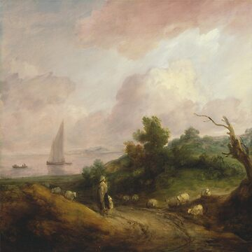 Coastal Landscape with a Shepherd and His Flock by kaijupunk