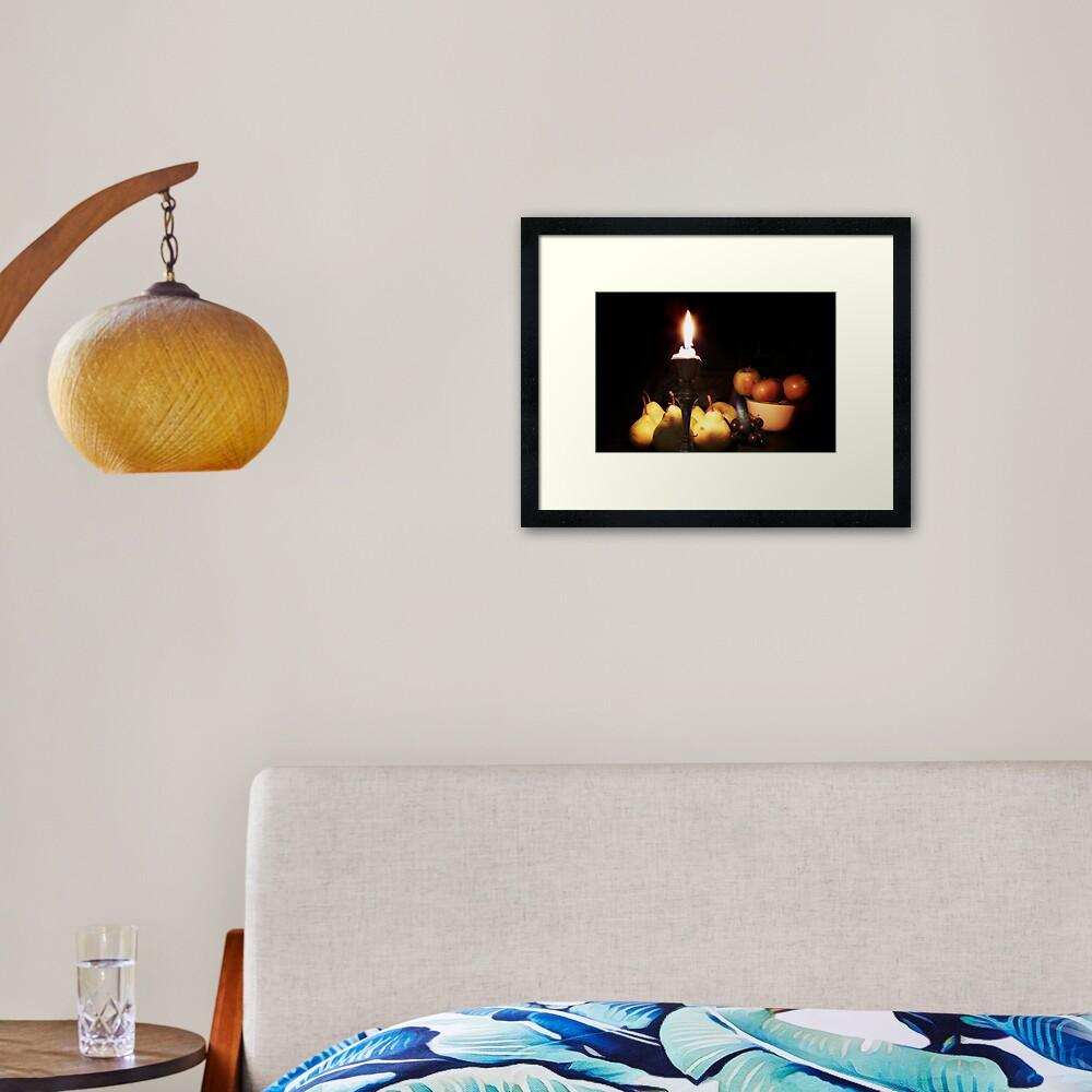 Still life apples and pears Framed Art Print