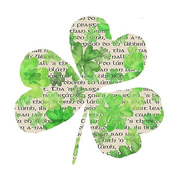 Gaelic within a Shamrock | St Paddys Day Design by PraiseQuotes
