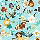 Beautiful Butterflies on Bright Blue by PaulaOhreen