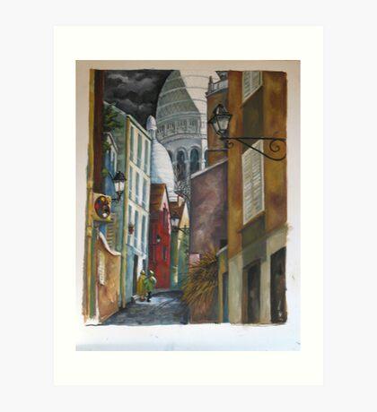 Rue St. Rustique à Montmartre Art Print