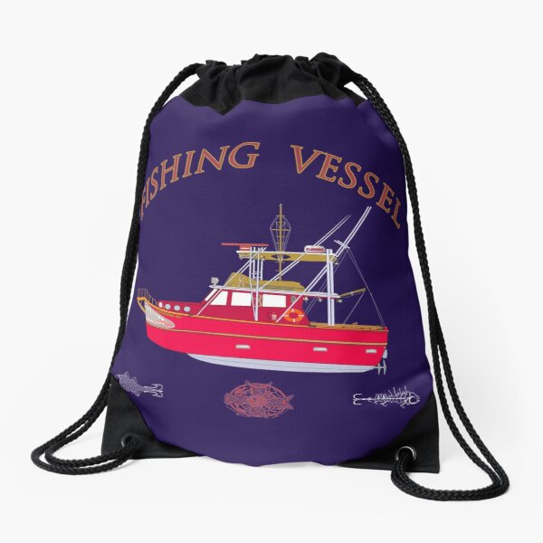 Fishing Vessel BY hook ink Drawstring Bag