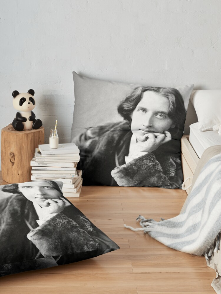 Alternate view of Oscar Wilde Black and White Floor Pillow