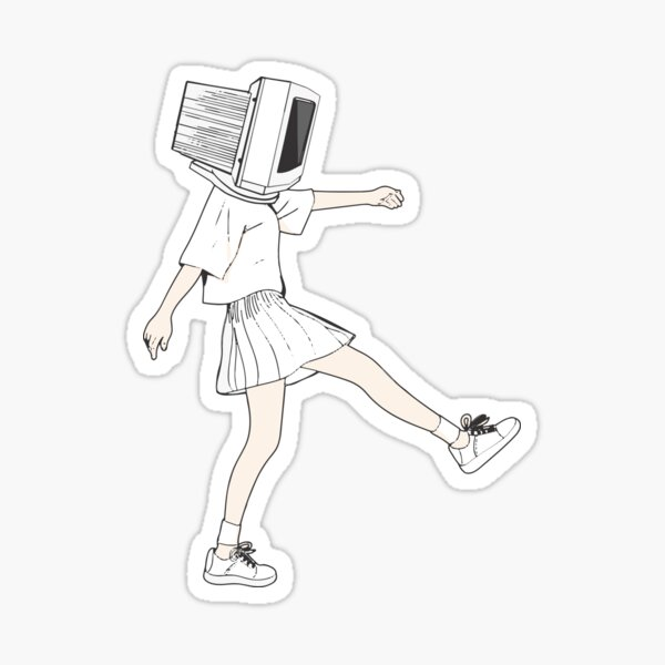 Coder girl computer head Sticker