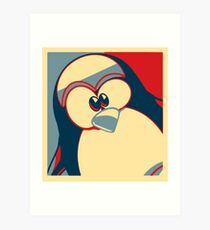 Linux Tux Obama poster red blue  Art Print