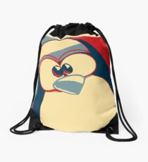 Linux Tux Obama poster red blue  Drawstring Bag