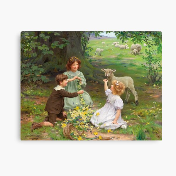 Arthur John Elsley - The Joy of Spring - Children Playing in Field with a Lamb Canvas Print