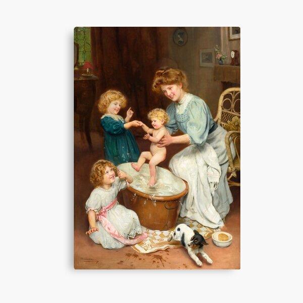Baby's Bathtime by Arthur John Elsley Canvas Print