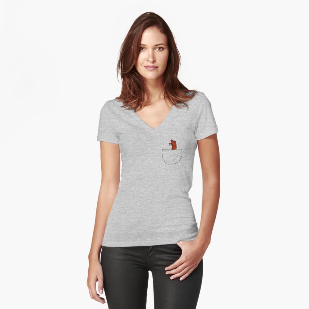 Der Shrimp in der Tasche Tailliertes T-Shirt mit V-Ausschnitt