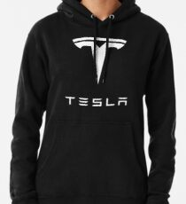 Official Tesla White Logo  Pullover Hoodie