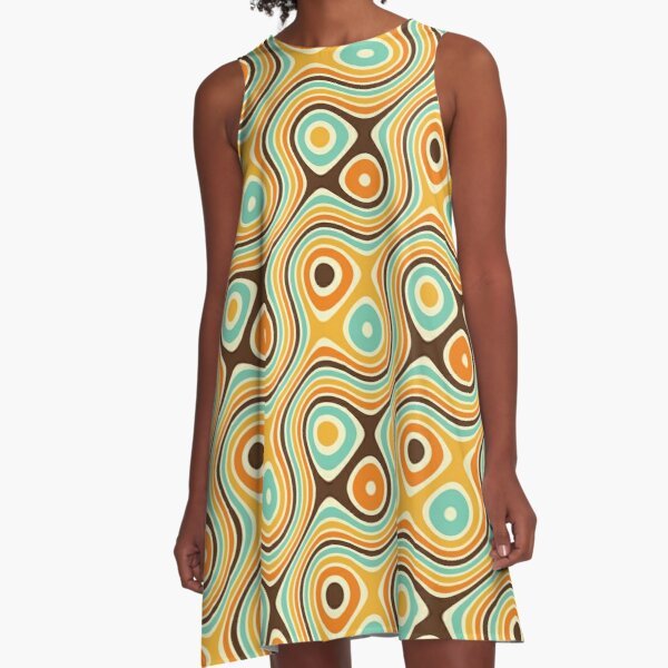Retro psychedelic pattern A-Line Dress