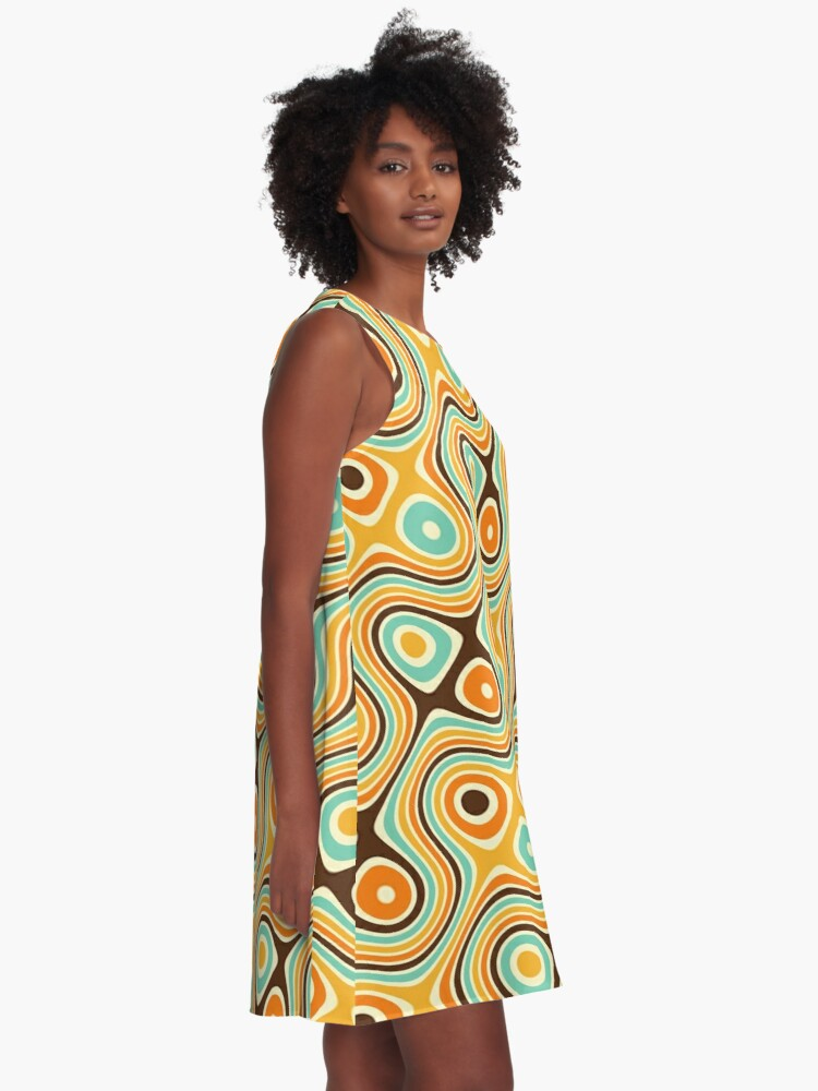 Alternate view of Retro psychedelic pattern A-Line Dress