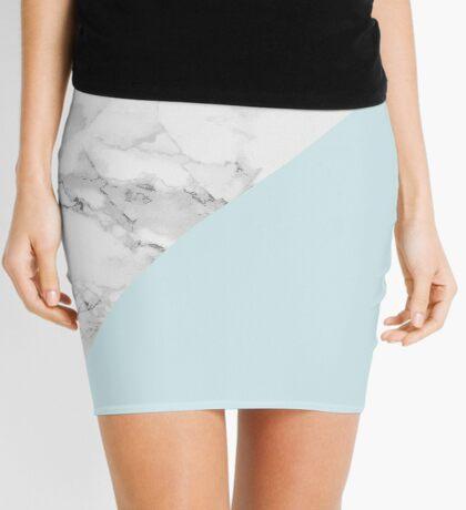 Marble + Blue Pastel Color. Geometría clásica. Minifalda