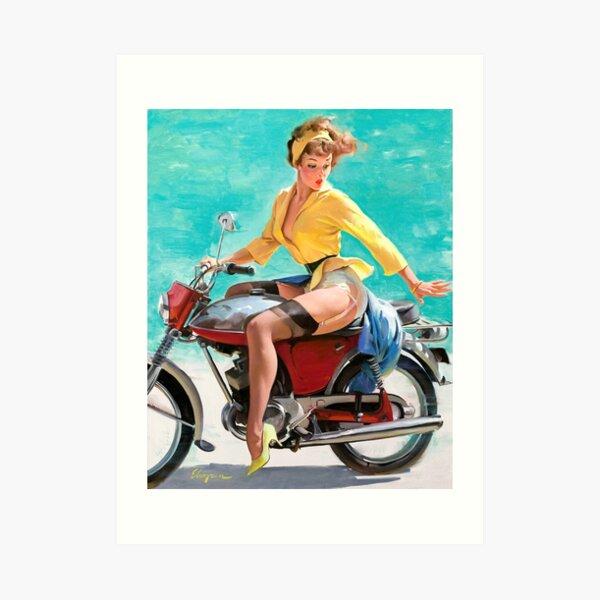 Motorcycle Pinup Girl Art Print